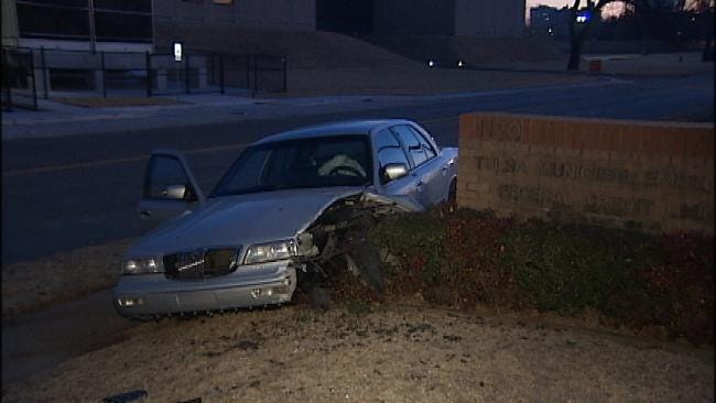 Driver Crashes Into Brick Sign, Abandons Car In West Tulsa