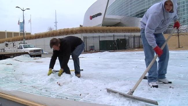 Crews Rush To Clear Ice Rink From Tulsa Winterfest