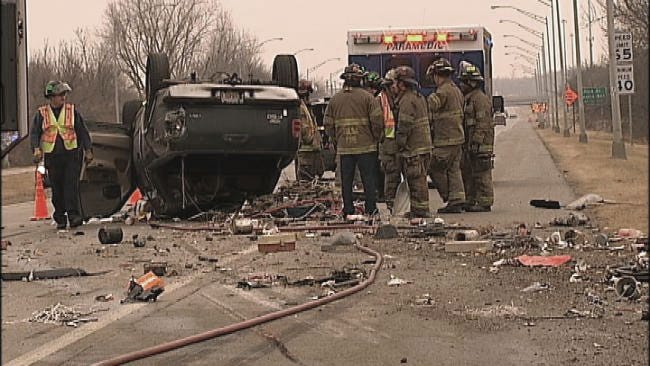 Tulsa Highway Closed While Crews Clean Up From Rollover Crash