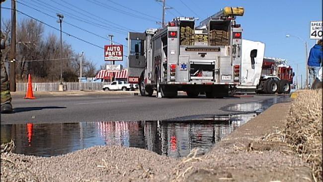 Semi Blowout Prompts Hazmat Cleanup, Shuts Down Peoria In North Tulsa