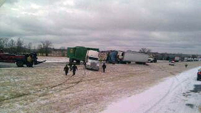 Icy Conditions Shut Down A Section Of I-40 In Eastern Oklahoma