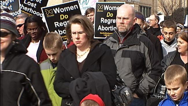 Hundreds 'March For Life' In Downtown Tulsa