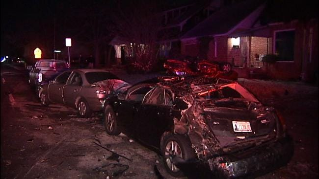 Possible Drunk Driver Takes Out Four Parked Cars In Tulsa Neighborhood