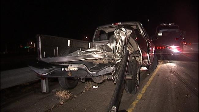 Pickup Truck Swerves To Miss Deer On Creek Turnpike, Gets Hit By Semi