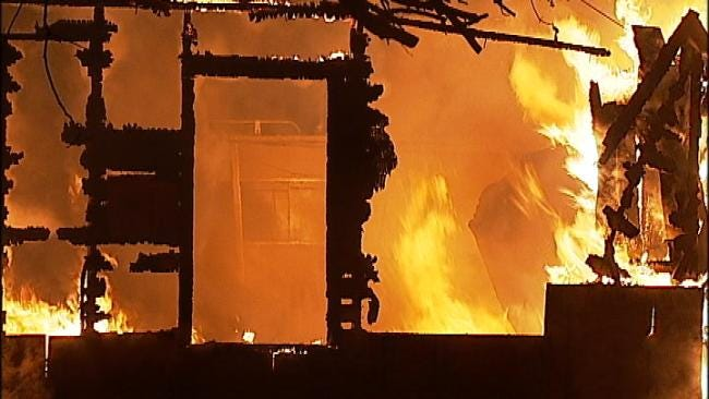 West Tulsa Vacant House Destroyed By Fire
