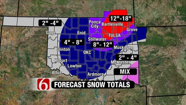 Snowfall Could Exceed A Foot In Parts NE Oklahoma