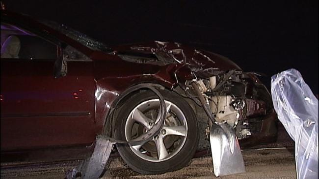 Driver Arrested After Her Car Strikes Semi On Tulsa Highway