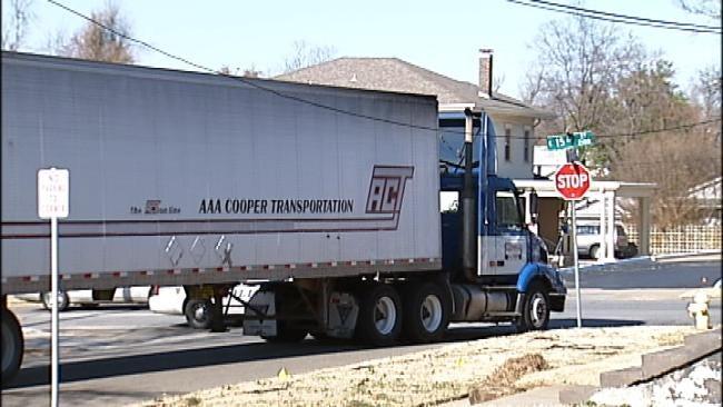 Semi Truck Knocks Down Tulsa Power Line