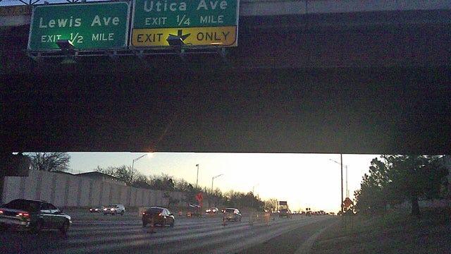Drivers Encounter Orange Barrels On Tulsa's Broken Arrow Expressway