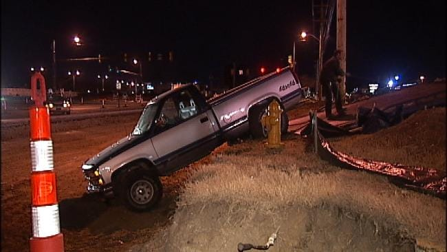 Pickup Truck Tangles With Tulsa Construction Trench