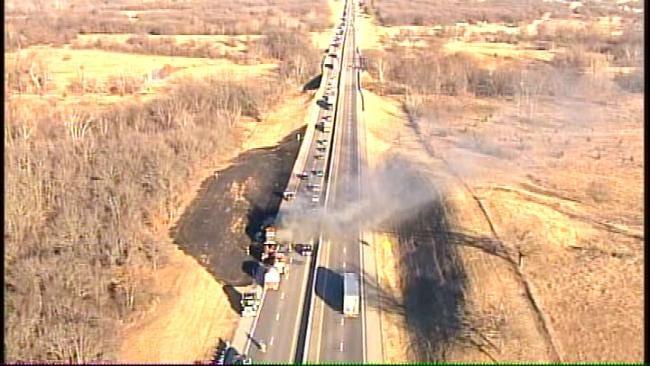 Traffic Still Restricted On Turner Turnpike Near Bristow After Semi Truck Fire