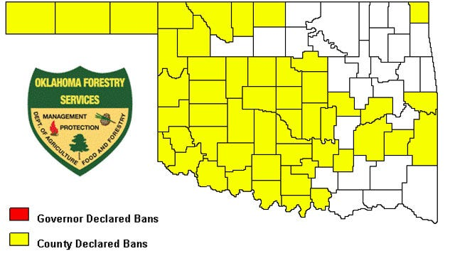 Most Counties In Oklahoma Under A Burn Ban