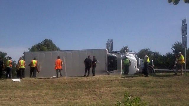 Food Bank Truck Overturns On Tulsa Highway