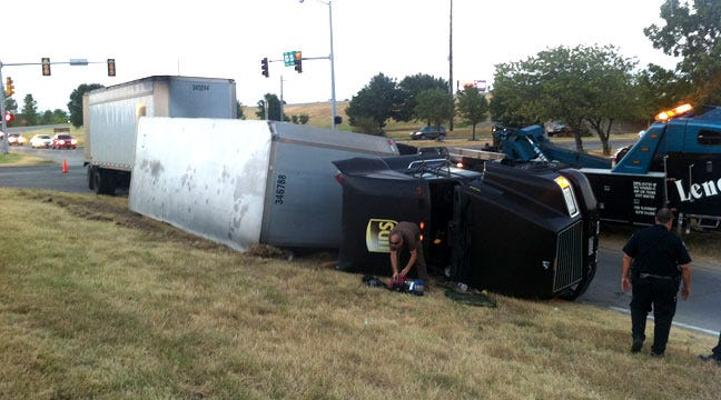 UPS Truck Overturns On Highway 169 On Ramp