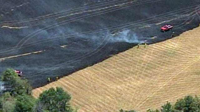 Large Brush Fire Threatened Buildings North Of Sapulpa
