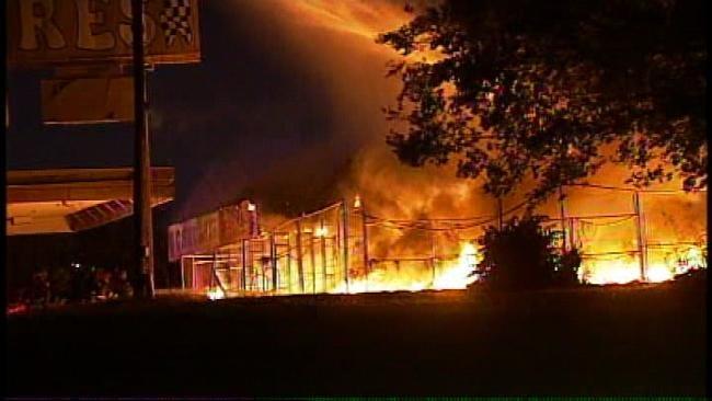 Fire Destroys Tulsa Tire Store Friday Morning