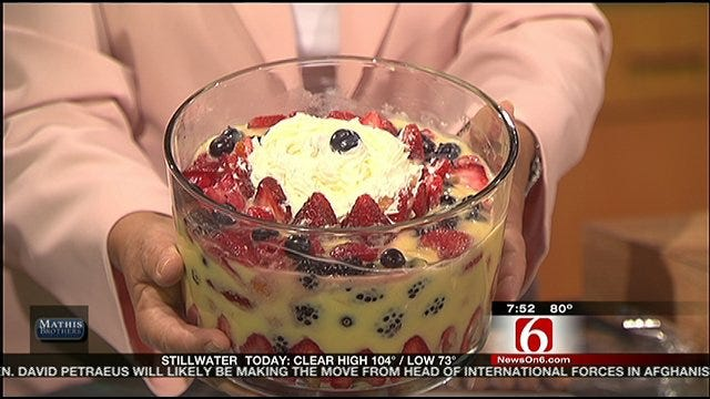 Independence Day Berry Trifle And Fruit Flag Display