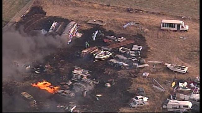 Fire Destroys Bus At Jenks Salvage Yard