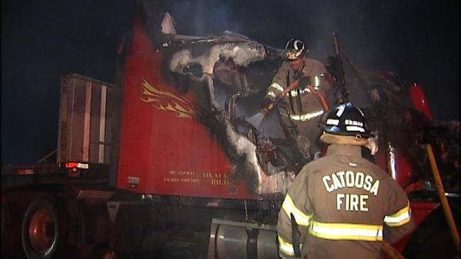 Catoosa Truck Driver Escapes Injury After Big Rig Catches Fire