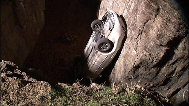 Driver Survives Plunge Off 25-Foot Cliff In Tulsa Park