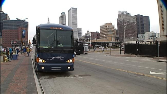 Locals Join Out Of Town Guests On Downtown Tulsa Shuttles