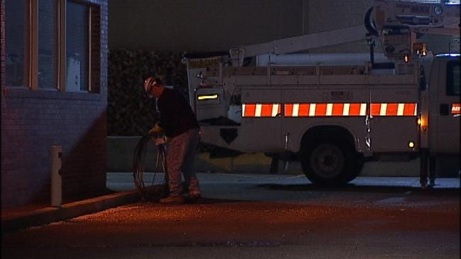 Delivery Truck Rips Electric Lines From Tulsa Businesses