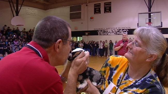 Broken Arrow Coach Kisses Goat For Good Cause