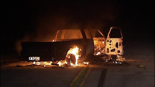 Abandoned Truck Found Burning In North Tulsa