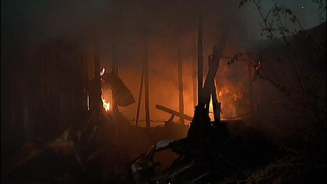 Two Mobile Homes Burn To The Ground Near Sapulpa