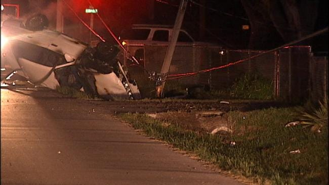 Vehicle Snaps Power Pole, Catches Fire In Tulsa Wreck