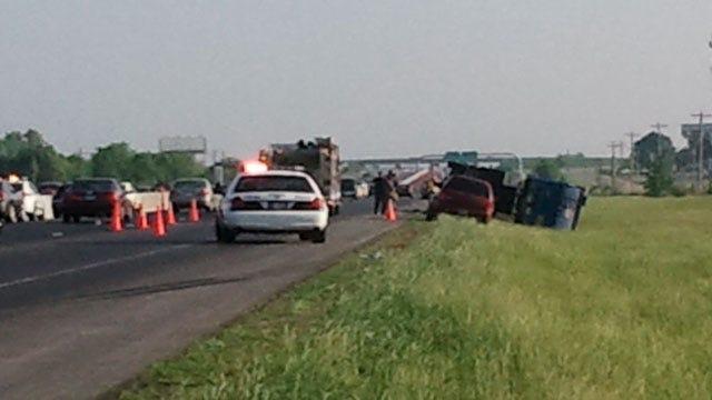 Trash Truck Rolls Over, Slowing Traffic On Tulsa's Highway 169