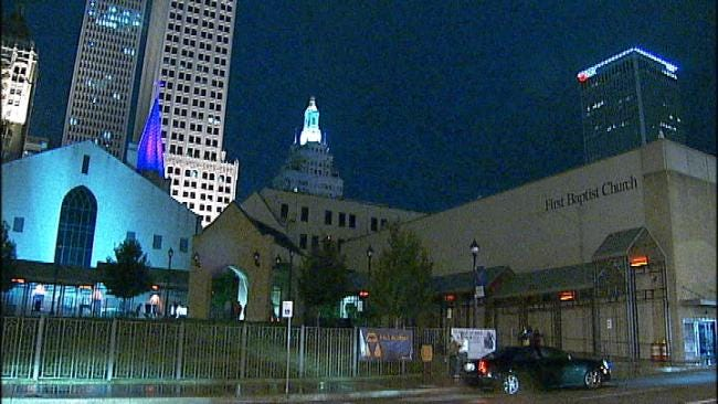 Downtown Tulsa Church Adds LED Lights To Its Steeple
