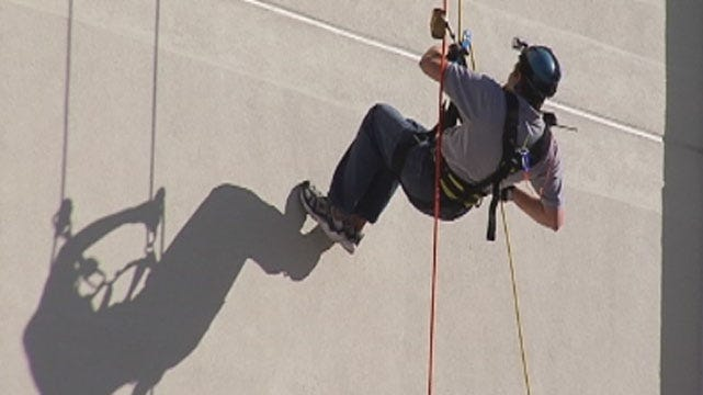 Dozens Rappel Down Tulsa's Hard Rock Hotel For Fundraising Event
