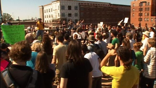Occupy Tulsa Protesters Take To The Streets Saturday Afternoon