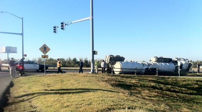 Semi Filled With Sewer Sludge Overturns On Creek Turnpike