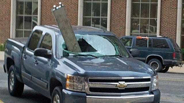 Metal Beam Impales Pickup Truck In Downtown Bartlesville