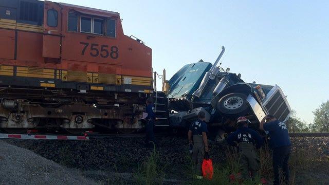Semi Truck Struck By Train Locomotive In Catoosa
