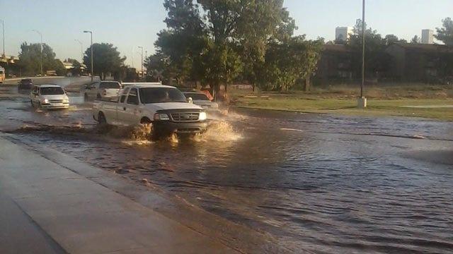 Tulsa Water Main Break Floods Street