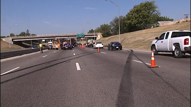 Jack-Knifed Semi Causes Traffic Backup On I-244 In Tulsa