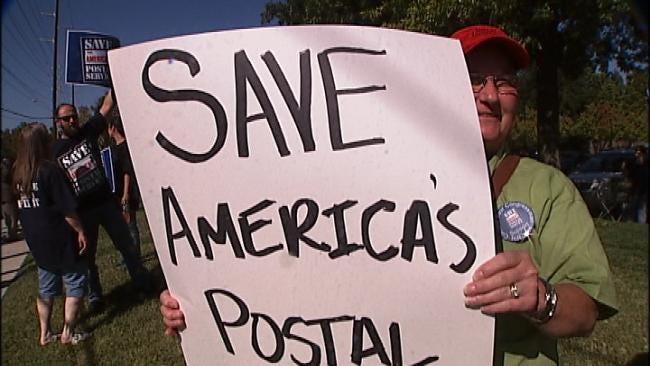 Dozens Of Tulsa Postal Workers Rally To Save Their Jobs