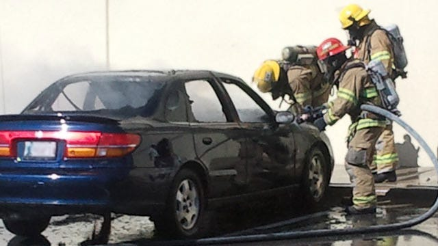 Owasso Car Destroyed By Fire Thursday Morning