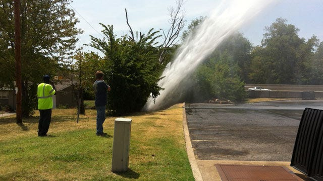 Break In Tulsa Water Main Showers Nearby Apartment Complex