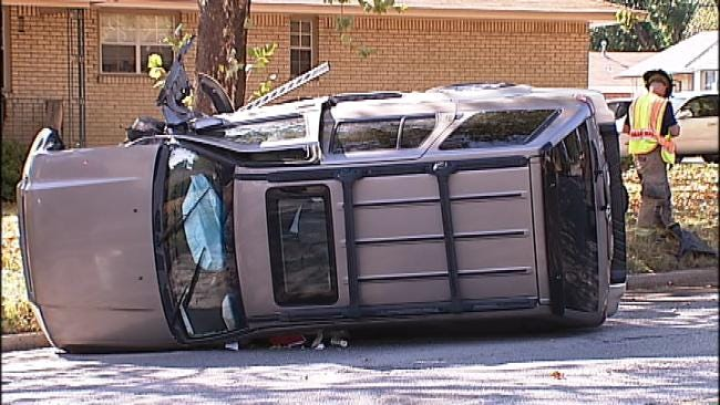 Driver Hits Utility Pole, Rolls Vehicle In Midtown Tulsa