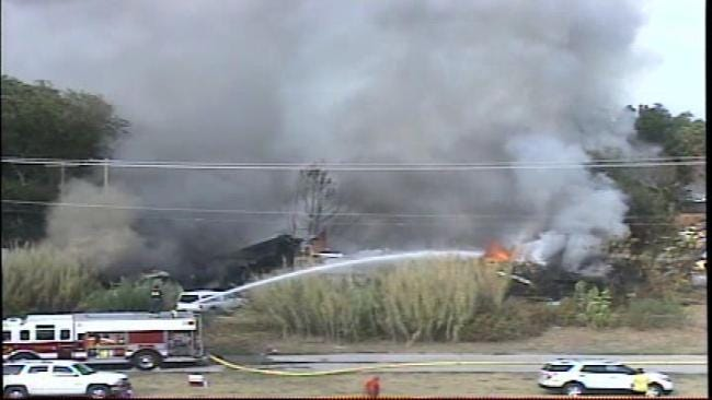 Firefighters Battle Fire Involving Several Structures In Jenks