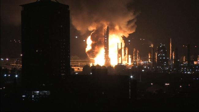 Neighbors Of West Tulsa Refinery React To Early Morning Explosion, Fire