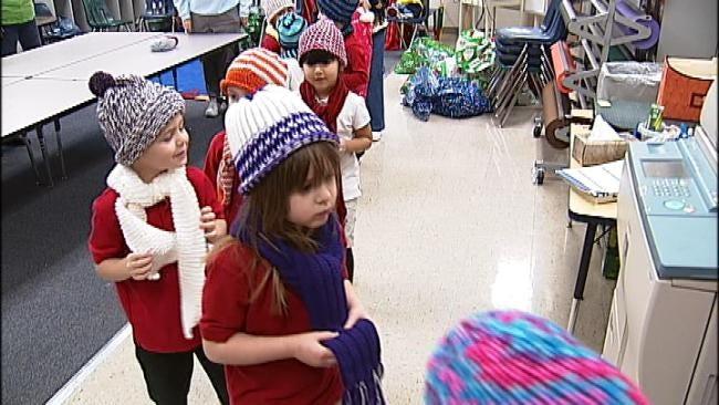 Senior Group Donates Hundreds Of Scarves, Hats To Tulsa Kids
