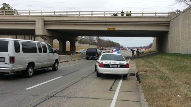 OHP: Tulsan Dies Jumping Off Creek Turnpike Bridge Onto Hood Of Truck