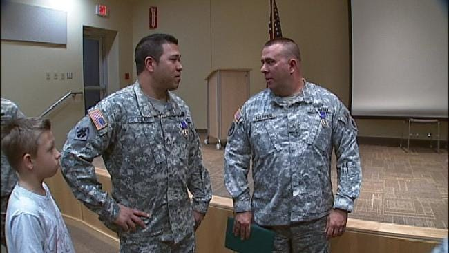 Two Oklahoma Guardsmen Surprised With Purple Heart Ceremony