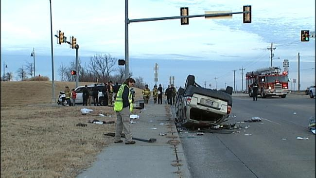 Woman Narrowly Avoids Being Crushed In South Tulsa Rollover Wreck