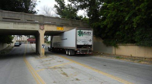 Truck Gets Stuck Under Railroad Bridge Near Downtown Tulsa